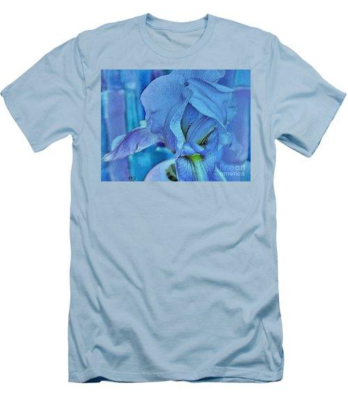 Men's T-Shirt (Slim Fit) featuring the mixed media Digital Iris by Marsha Heiken