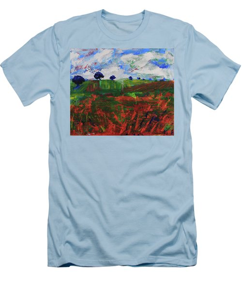 Men's T-Shirt (Athletic Fit) featuring the painting Distant Vineyards by Walter Fahmy