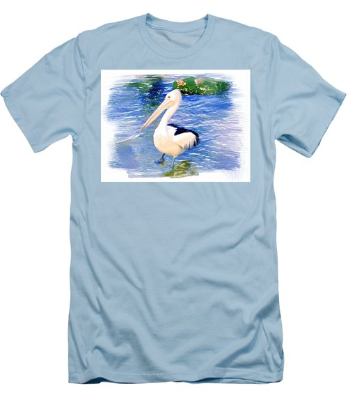 Men's T-Shirt (Slim Fit) featuring the photograph Do-00088 Pelican by Digital Oil