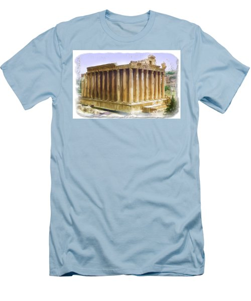 Men's T-Shirt (Slim Fit) featuring the photograph Do-00312 Temple Of Bacchus In Baalbeck by Digital Oil
