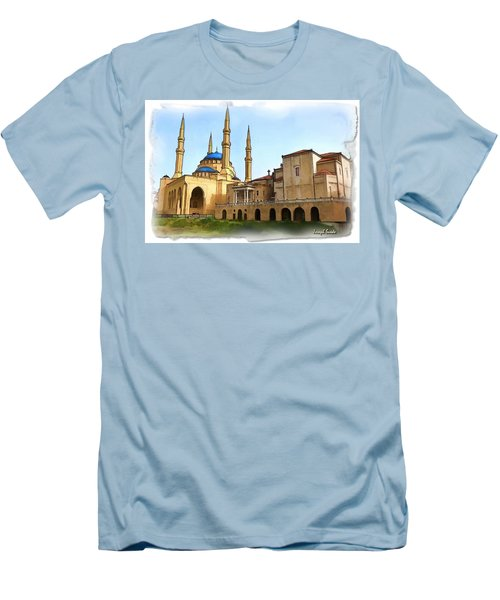 Men's T-Shirt (Slim Fit) featuring the photograph Do-00362al Amin Mosque And St George Maronite Cathedral by Digital Oil
