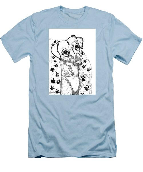 Dog Sketch In Charcoal 4 Men's T-Shirt (Slim Fit) by Ania M Milo