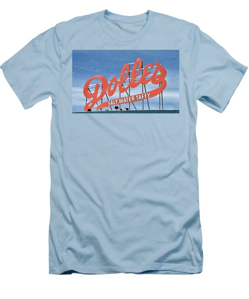 Men's T-Shirt (Slim Fit) featuring the photograph Dolles Salt Water Taffy - Rehoboth Beach  Delaware by Brendan Reals