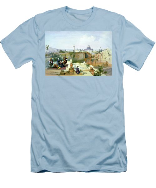 Dome Of The Rock In The Background Men's T-Shirt (Slim Fit) by Munir Alawi