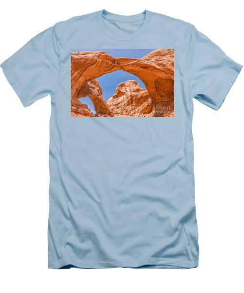Double Arch At Arches National Park Men's T-Shirt (Slim Fit) by Sue Smith
