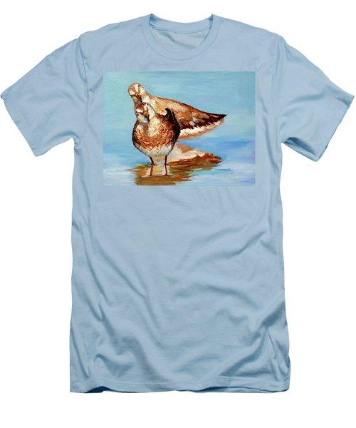 Dowitcher Birds Men's T-Shirt (Slim Fit) by Janet Garcia