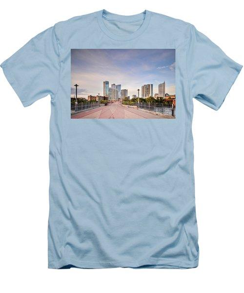 Downtown Austin Skyline From Lamar Street Pedestrian Bridge - Texas Hill Country Men's T-Shirt (Slim Fit) by Silvio Ligutti