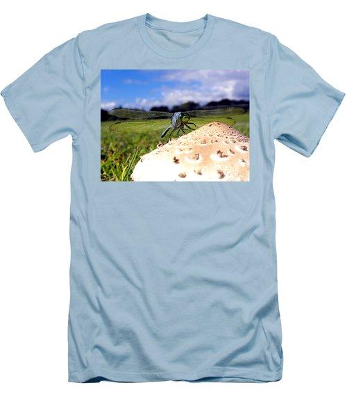 Dragonfly On A Mushroom Men's T-Shirt (Slim Fit) by Chris Mercer