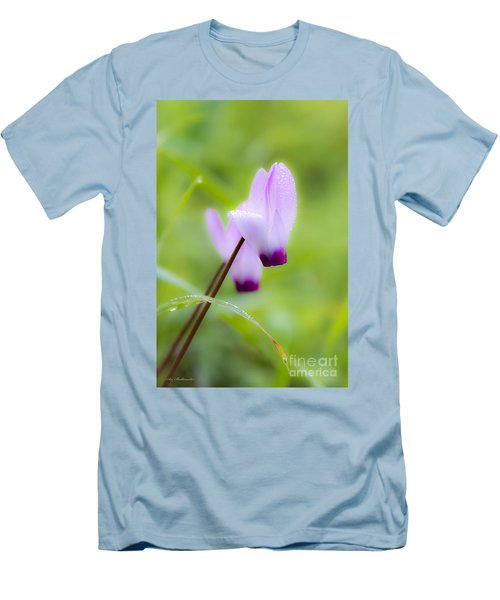 Men's T-Shirt (Slim Fit) featuring the photograph Dream On Purple Dew Drops by Arik Baltinester