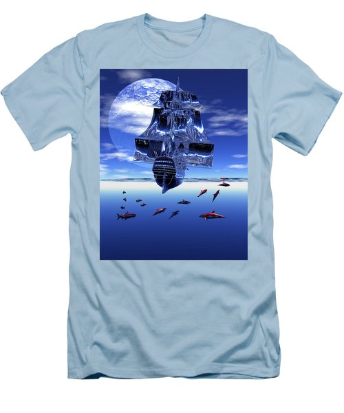 Men's T-Shirt (Slim Fit) featuring the digital art Dream Sea Voyager by Claude McCoy