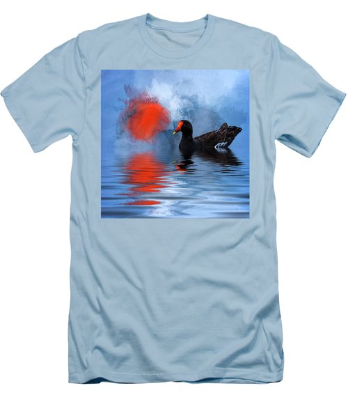 Duck In A Pond Men's T-Shirt (Slim Fit) by Cyndy Doty
