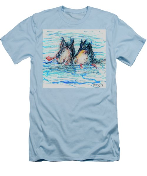 Men's T-Shirt (Athletic Fit) featuring the mixed media Duck Tails by Denise Fulmer