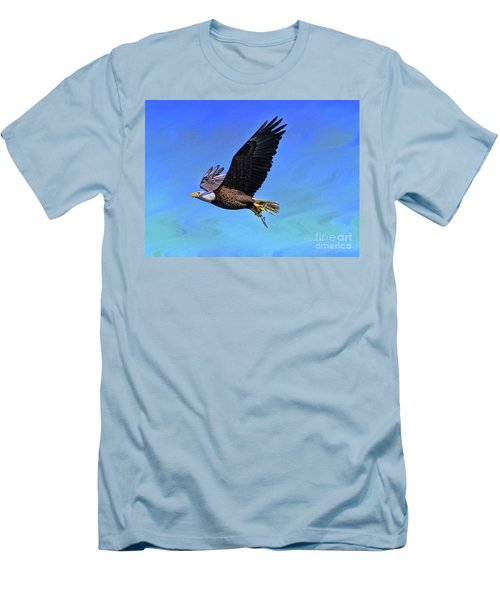 Men's T-Shirt (Slim Fit) featuring the photograph Eagle Series Success by Deborah Benoit