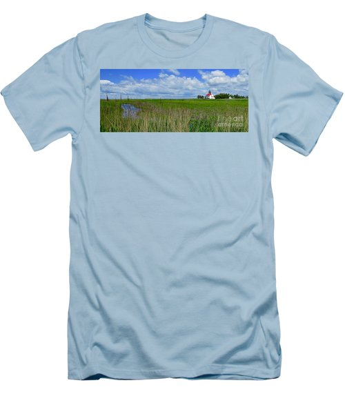 East Point Lighthouse Across The Marsh  Men's T-Shirt (Slim Fit) by Nancy Patterson