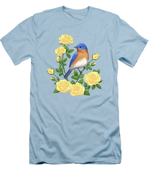 Eastern Bluebird And Yellow Roses Men's T-Shirt (Athletic Fit)