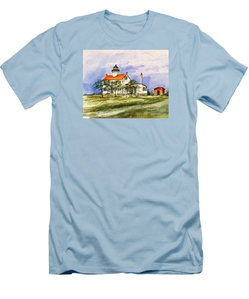 East Point Lighthouse Glory Days  Men's T-Shirt (Slim Fit) by Nancy Patterson