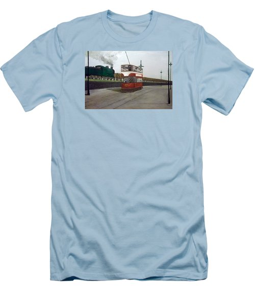 Edinburgh Tram With Goods Train Men's T-Shirt (Athletic Fit)