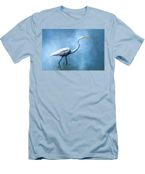 Egret Men's T-Shirt (Slim Fit) by Cyndy Doty