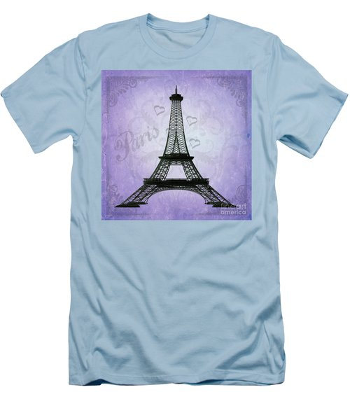 Eiffel Tower Collage Purple Men's T-Shirt (Slim Fit) by Jim And Emily Bush