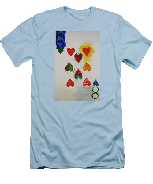 Men's T-Shirt (Slim Fit) featuring the painting Eight Of Hearts 9-52  2nd Series  by Cliff Spohn