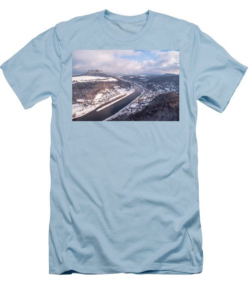 Men's T-Shirt (Slim Fit) featuring the photograph Elbe Valley With Mountain Pfaffenstein by Jenny Rainbow