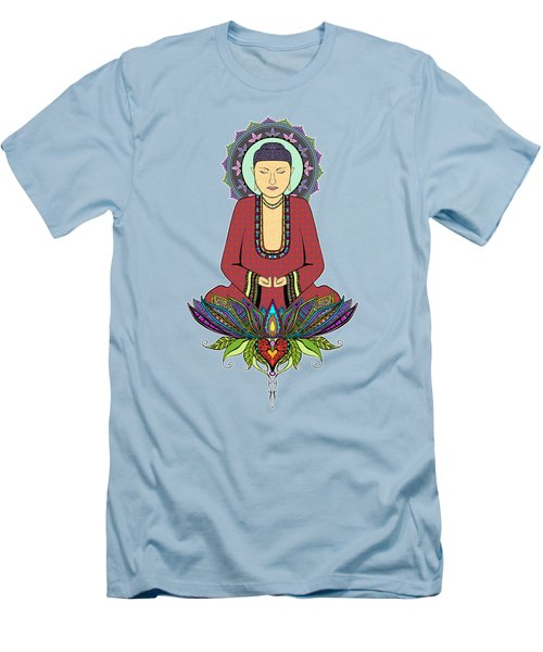 Men's T-Shirt (Slim Fit) featuring the drawing Electric Buddha by Tammy Wetzel