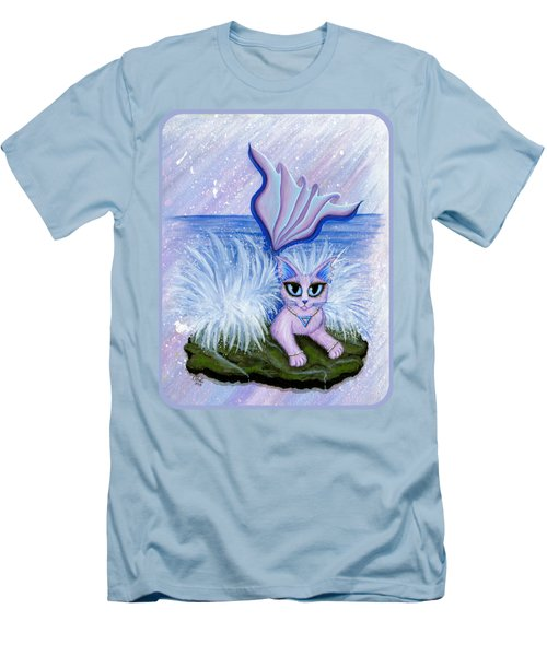 Men's T-Shirt (Slim Fit) featuring the painting Elemental Water Mermaid Cat by Carrie Hawks