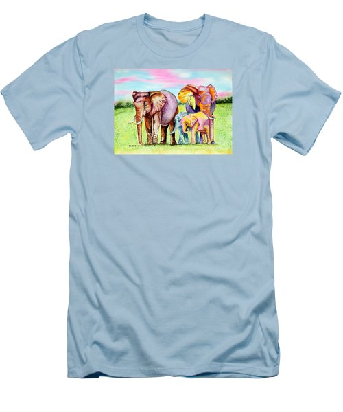 Men's T-Shirt (Slim Fit) featuring the painting Elephant Aura by Maria Barry