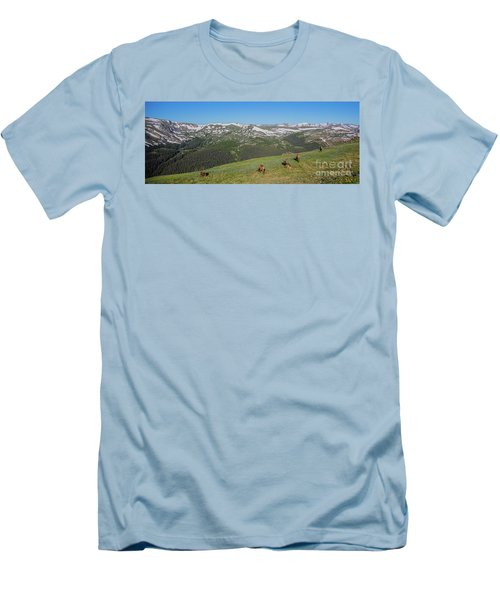 Elk Grazing In Rmnp Men's T-Shirt (Slim Fit) by John Roberts