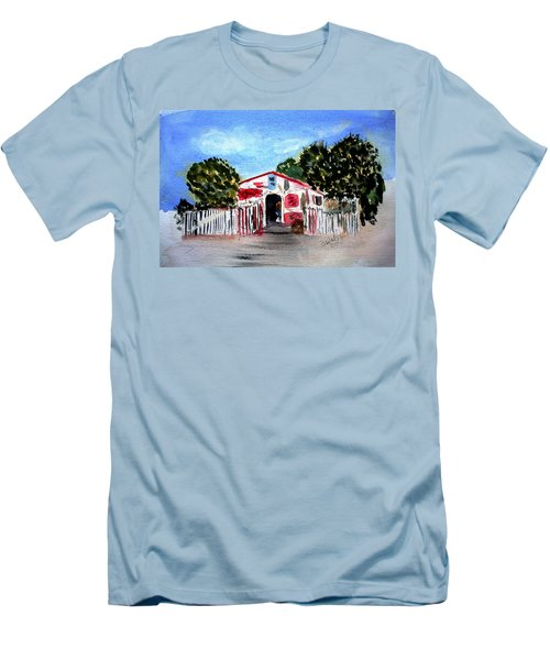 Men's T-Shirt (Slim Fit) featuring the painting Emiles Road Side Grocer by Donna Walsh