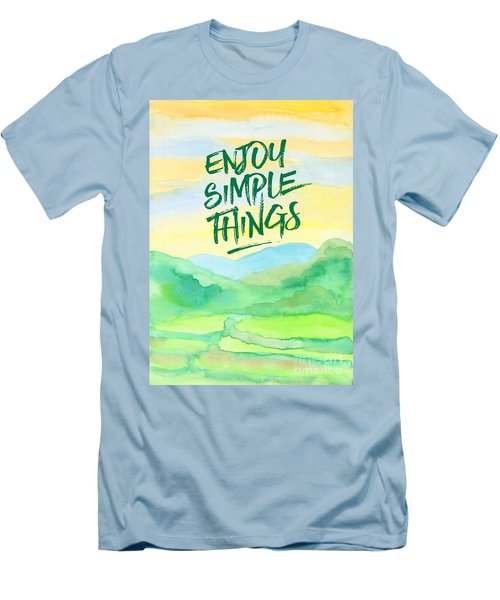 Enjoy Simple Things Rice Paddies Watercolor Painting Men's T-Shirt (Athletic Fit)