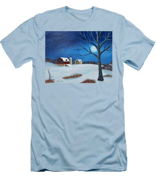 Men's T-Shirt (Slim Fit) featuring the painting Evening Chores by Jack G Brauer