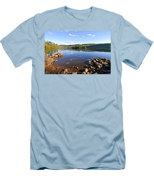 Evening On Cedar Lagoon Pine Lake Men's T-Shirt (Slim Fit) by Larry Ricker