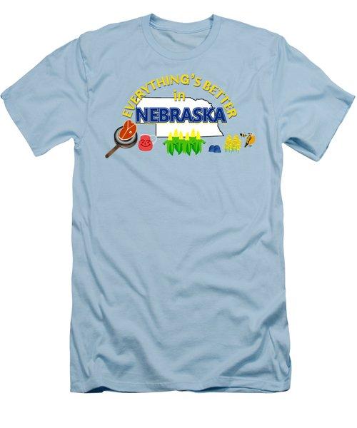 Everything's Better In Nebraska Men's T-Shirt (Slim Fit) by Pharris Art