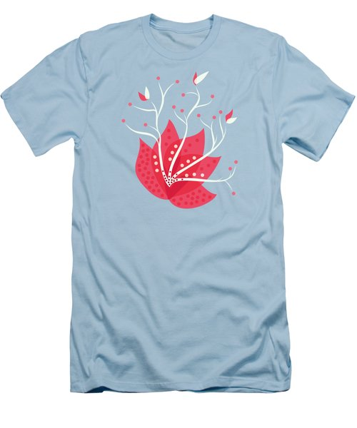 Exotic Pink Flower And Dots Men's T-Shirt (Slim Fit)