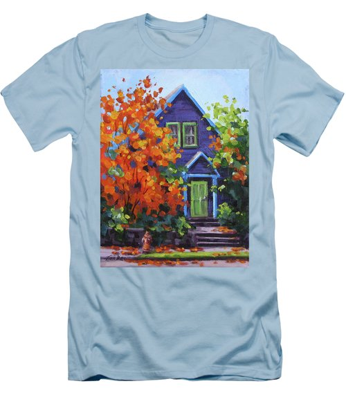 Fall In The Neighborhood Men's T-Shirt (Slim Fit) by Karen Ilari