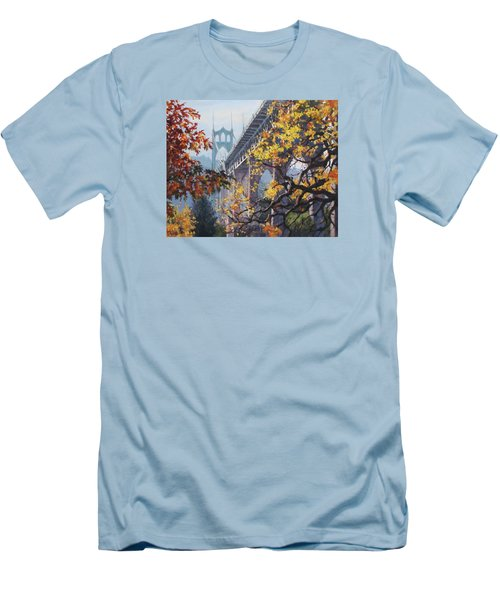 Men's T-Shirt (Slim Fit) featuring the painting Fall St Johns by Karen Ilari