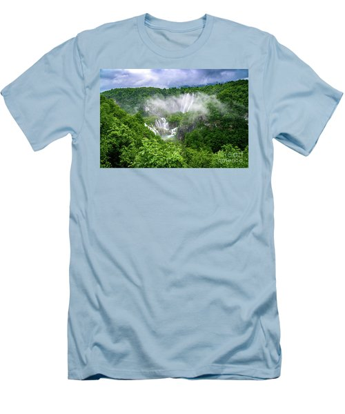 Falls Through The Fog - Plitvice Lakes National Park Croatia Men's T-Shirt (Athletic Fit)