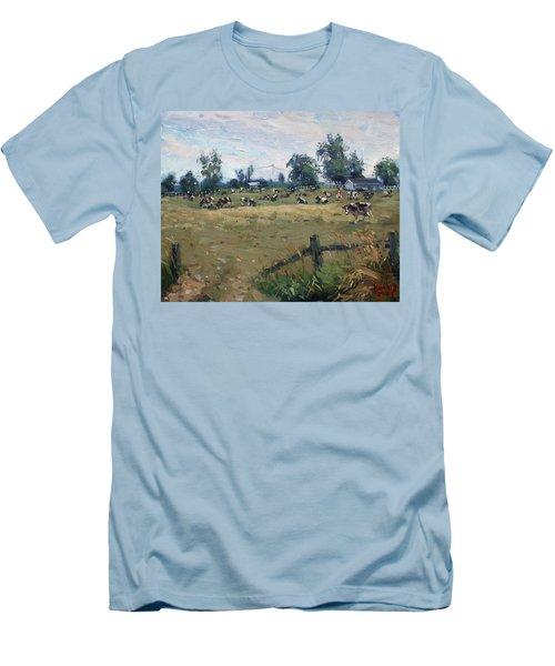 Farm In Terra Cotta On Men's T-Shirt (Athletic Fit)