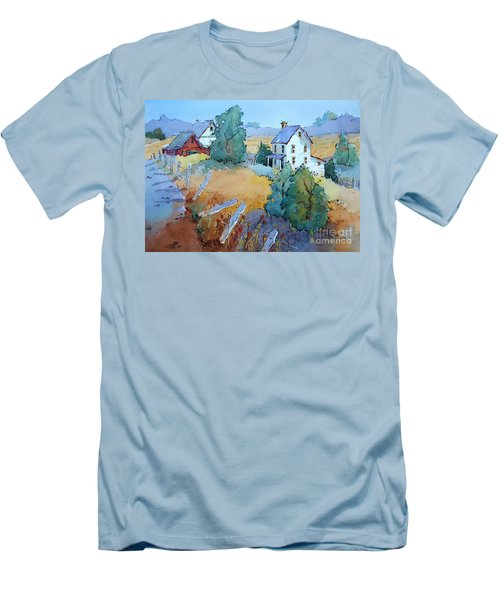Farm With Blue Roof Tops Men's T-Shirt (Athletic Fit)