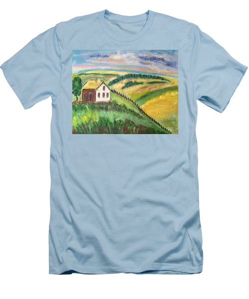 Men's T-Shirt (Slim Fit) featuring the painting Farmhouse On A Hill by Diane Pape
