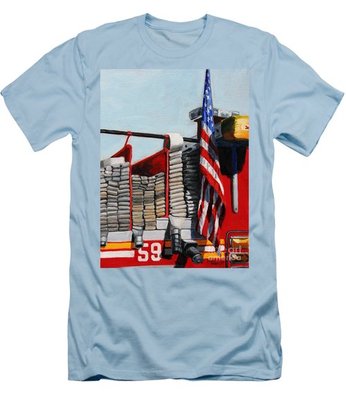 Fdny Engine 59 American Flag Men's T-Shirt (Athletic Fit)
