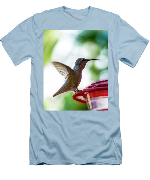 Men's T-Shirt (Athletic Fit) featuring the photograph Female Anna's Hummingbird V24 by Mark Myhaver