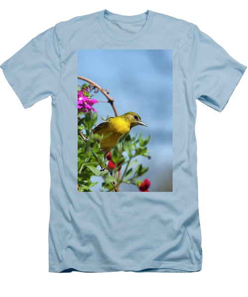 Female Baltimore Oriole In A Flower Basket Men's T-Shirt (Athletic Fit)