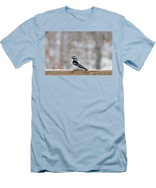 Female Downy Woodpecker Men's T-Shirt (Slim Fit) by Diane Giurco