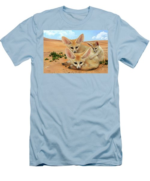 Men's T-Shirt (Slim Fit) featuring the digital art Fennec Foxes by Thanh Thuy Nguyen