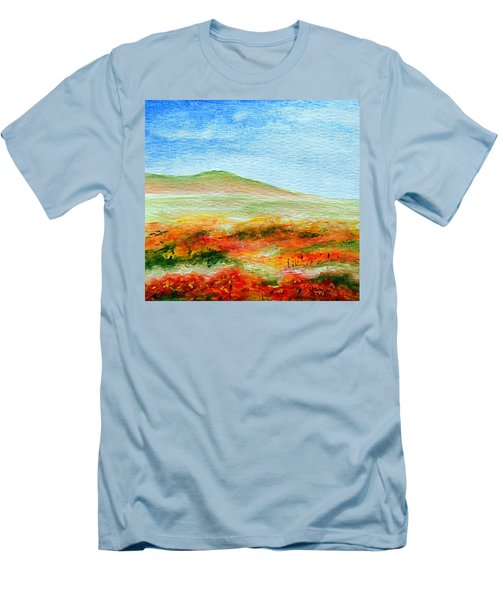 Men's T-Shirt (Slim Fit) featuring the painting Field Of Poppies by Jamie Frier
