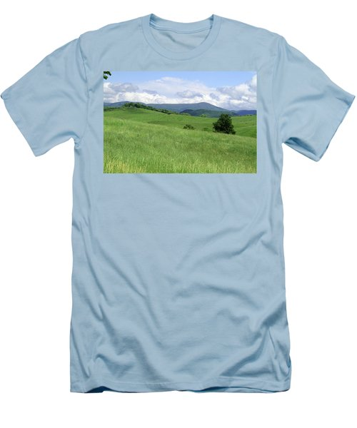 Men's T-Shirt (Slim Fit) featuring the photograph Fields And Hills  by Emanuel Tanjala