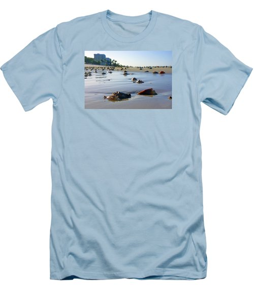 Fighting Conchs On The Beach In Naples, Fl Men's T-Shirt (Slim Fit) by Robb Stan