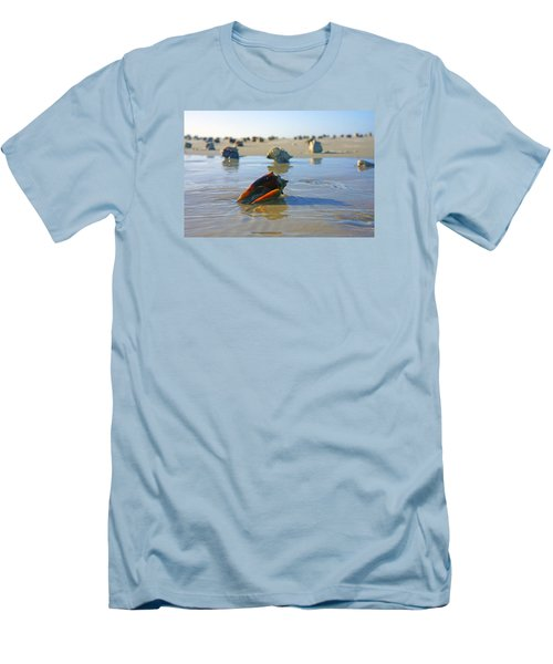 Men's T-Shirt (Slim Fit) featuring the photograph Fighting Conchs On The Sandbar by Robb Stan